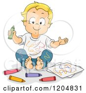 Cartoon Of A Happy Blond White Boy Covered In Crayon Scribbles Royalty Free Vector Clipart