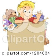 Cartoon Of A Waving Blond White Boy In A Box With Toys Royalty Free Vector Clipart