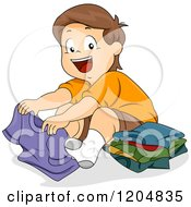 Cartoon Of A Happy Brunette White Boy Folding Shirts Royalty Free Vector Clipart