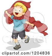 Cartoon Of A Happy Blond White Boy Playing Super Hero With A Cape Royalty Free Vector Clipart