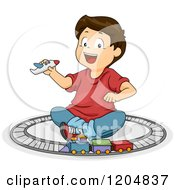 Cartoon Of A Happy Brunette White Boy Playing With A Plane And Train Track Royalty Free Vector Clipart