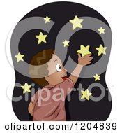 Cartoon Of A Happy Black Boy Sticking Glow In The Dark Stars On His Wall Royalty Free Vector Clipart
