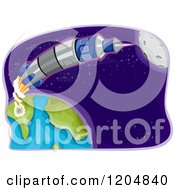 Cartoon Of A Space Rocket Shooting From Earth Royalty Free Vector Clipart