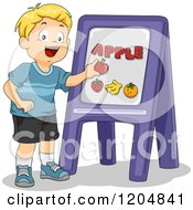 Cartoon Of A Happy Blond School Boy Doing A Word Lesson Royalty Free Vector Clipart by BNP Design Studio