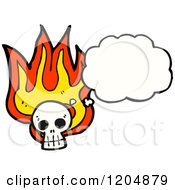 Cartoon Of A Flaming Skull Thinking Royalty Free Vector Illustration by lineartestpilot
