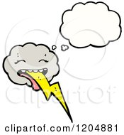 Cartoon Of A Storm Cloud Thinking Royalty Free Vector Illustration by lineartestpilot
