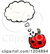 Cartoon Of A Skull Thinking Royalty Free Vector Illustration by lineartestpilot