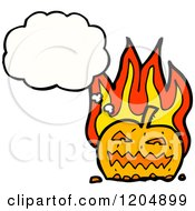 Cartoon Of A Flaming Jack O Lantern Thinking Royalty Free Vector Illustration by lineartestpilot