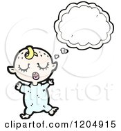 Cartoon Of A Thinking Baby Royalty Free Vector Illustration by lineartestpilot
