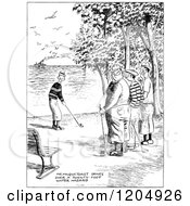 Clipart Of A Vintage Black And White Golf Hazard Royalty Free Vector Illustration