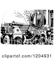 Vintage Black And White Fire Engine