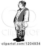 Clipart Of A Vintage Black And White French Man Royalty Free Vector Illustration