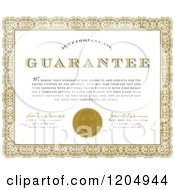 Clipart Of A Golden Ornate Frame Around A Sample Text Quality Guarantee Certificate Royalty Free Vector Illustration