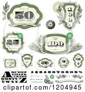 Clipart Of Green Cash Money Number And Letter Design Elements Royalty Free Vector Illustration