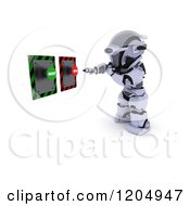 Clipart Of A 3d Robot Reaching To Push An Accept Or Reject Button Royalty Free CGI Illustration