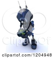 Clipart Of A 3d Blue Android Robot Holding And Looking Down At An Earth Globe Royalty Free CGI Illustration