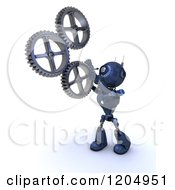 Clipart Of A 3d Blue Android Robot Spinning Gear Cog Wheels Royalty Free CGI Illustration