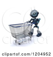 Clipart Of A 3d Blue Android Robot Pushing A Shopping Cart Trolly Royalty Free CGI Illustration