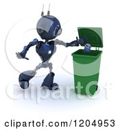 3d Blue Android Robot Recycling An Aluminum Can