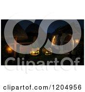 Clipart Of A 3d Mushroom Village Illuminated By A Lantern On A Sign And Halloween Jackolantern Pumpkins Royalty Free CGI Illustration