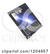 Clipart Of A 3d Touch Screen Tablet Computer On Shaded White Royalty Free CGI Illustration by KJ Pargeter