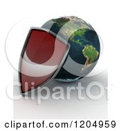 Clipart Of A 3d Globe Featuring The Americas And A Red Security Shield On Shaded White Royalty Free CGI Illustration