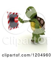 3d Tortoise Pushing A Stop Button