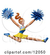 Clay Sculpture Clipart Energetic Leaping Cheerleader Royalty Free 3d Illustration
