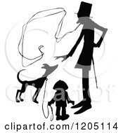 Vintage Black And White Silhouetted Smoking Man Boy And Dog