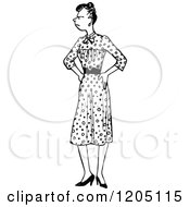 Clipart Of A Vintage Black And White Annoyed Woman With Her Hands On Her Hips Royalty Free Vector Illustration by Prawny Vintage