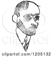 Cartoon Of A Black And White Sketched Male Caricature Royalty Free Vector Clipart