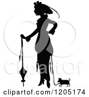Vintage Black And White Silhouetted Lady And Dog