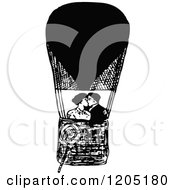 Clipart Of A Vintage Black And White Couple Kissing In A Hot Air Balloon Royalty Free Vector Illustration
