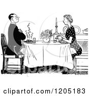 Clipart Of A Vintage Black And White Couple Dining Royalty Free Vector Illustration