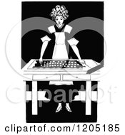 Clipart Of A Vintage Black And White Baking Girl Royalty Free Vector Illustration by Prawny Vintage