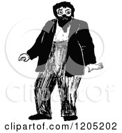 Clipart Of A Vintage Black And White Man With A Beard Royalty Free Vector Illustration