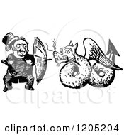 Clipart Of A Vintage Black And White Man Defending Himself With An Umbrella Against A Dragon Royalty Free Vector Illustration by Prawny Vintage