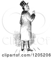 Clipart Of A Vintage Black And White Posh Gentleman Royalty Free Vector Illustration