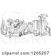 Clipart Of A Vintage Black And White Preacher Folly Ending Her Sermon Royalty Free Vector Illustration