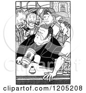 Cartoon Of A Vintage Black And White Men Interested In A Mans Story Royalty Free Vector Clipart