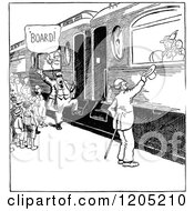 Cartoon Of Vintage Black And White People Boarding A Train Royalty Free Vector Clipart by Prawny Vintage