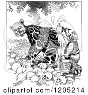 Clipart Of A Vintage Black And White Leopard Changing His Spots Royalty Free Vector Illustration by Prawny Vintage