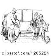Clipart Of A Vintage Black And White Group Of Passengers Royalty Free Vector Illustration