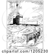 Cartoon Of A Vintage Black And White Submarine Rising By A Man Fishing Royalty Free Vector Clipart by Prawny Vintage