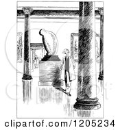 Cartoon Of A Vintage Black And White Man In A Museum Royalty Free Vector Clipart