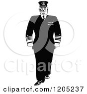 Cartoon Of A Vintage Black And White Stern Admiral Royalty Free Vector Clipart