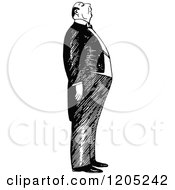 Cartoon Of A Vintage Black And White Snobbish Butler Royalty Free Vector Clipart by Prawny Vintage