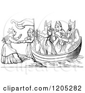 Clipart Of A Vintage Black And White Boat Of Pleasant Odours Royalty Free Vector Illustration
