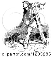 Clipart Of A Vintage Black And White Man Sweeping Royalty Free Vector Illustration by Prawny Vintage