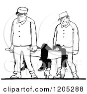 Clipart Of A Vintage Black And White Man On A Stretcher Royalty Free Vector Illustration